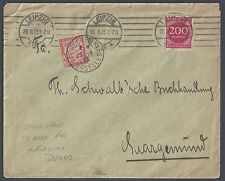 GERMANY FRANCE 1927 INFLATION 200 MARK LEIPZIC FRANKING SHORT PAID W/POSTAGE DUE