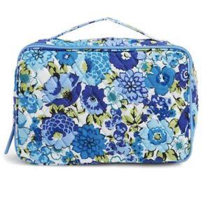Vera Bradley Blueberry Blooms LARGE BLUSH & BRUSH MAKEUP CASE Travel Organizer