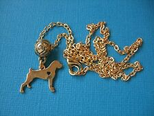 Boxer Dog Necklace & Pendant Puppy Metal Alloy Box Chain Gold Tone Puppy