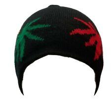 Rastafari Weeds Leaf Beanie Skully Cap Ski Hat Rasta Pot Black Green Winter