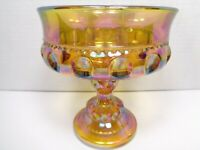 VINTAGE INDIANA GLASS CO GOLD IRIDESCENT KINGS CROWN COMPOTE PEDESTAL BOWL/DISH
