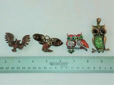 Pins, 2 Pendants- New 4 Owl Jewelry Pieces- 2