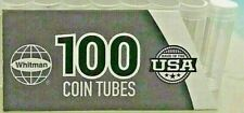 100 Plastic Penny Tubes  Whitman Screw Top  w/ 100+ Color Labels   Free Shipping