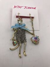 $55 Betsey Johnson Angel Cat and Heart Mismatch Drop Earrings m201