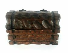 Antique Hand Carved Solid Wood Pirate Treasure Chest Jewelry Box cast iron screw