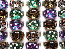 Wholesale lots bulk 20pcs Resin Lucite Mixed pattern Ring Children jewelry FREE