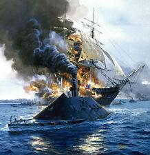 """Congress Burning"" Tom Freeman Civil War Print - Frigate USS Congress 1862"