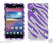 LG Optimus G E970 AT&T Diamand Snap-On Case Cover Silver Purple Zebra