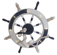Retro Nautical LED Blue Boat Wheel Table Lamp - Vintage Lounge Bedside Desk