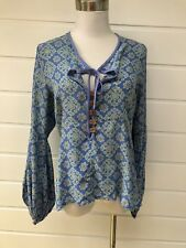 Pretty JOVEEBA Silk Blend Sky Blue Floral Long Sleeved Top - Size 8