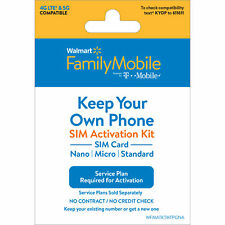 Walmart Family Mobile Keep Your Own Phone Sim Kit - T-Mobile Gsm Compatible