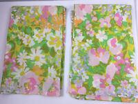 "Vtg 70s Fieldcrest Pillowcase Set Set of 2 Made USA Mod Floral 20x31"" Cotton MCM"