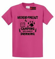 Weekend Forecast Camping Chance Drinking Funny T Shirt Camper Graphic Tee