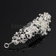 Bride Bridesmaids Gift Crystal Tiara Rhinestone Crown Wedding Party Prom + Comb