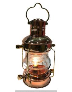 Brass & Copper Anchor Oil Lamp Leeds Nautical Maritime Ship Lanterns