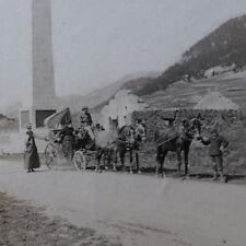 Photographie ancienne 1905 Col MontGenèvre vallée Clarée Italie Diligence