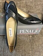 Vintage Penaljo Women's 9.5 S Navy Blue Petal Shoes Usa In Box Leather Upper