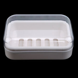 Plastic Soap Box Clear Soap Holder Dish Box Bathroom Travel Soap Container Z