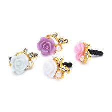 2PCS 3.5mm Rose Crystal Anti Dust Cap Earphone Jack Plug Stopper Cell Phone ATAU