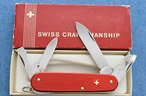 c1970s RARE 84mm VICTORINOX RED RIBBED ALOX CADET SWISS ARMY KNIFE MINT- IN BOX