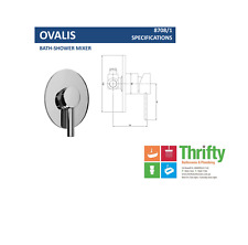 Novelli Ovalis Wall Mixer for Shower or Bath Chrome Oval RRP $161