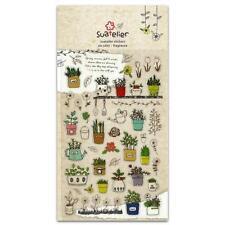 CUTE FLOWER POT STICKERS Floral Gardening Gel Sticker Sheet Craft Scrapbook Seal