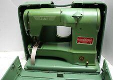 """Elna Transforma """"Grasshopper"""" Vintage Sewing Machine Green Switzerland w/ Case"""