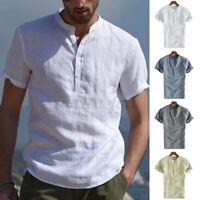 INCERUN Mens Formal T-Shirt Short Sleeve Collarless Smart Office Work Poplin Tee