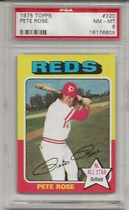 1975 TOPPS #320 PETE ROSE, PSA 8 NM-MT,  CINCINNATI REDS, CHARLIE HUSTLE, L@@K
