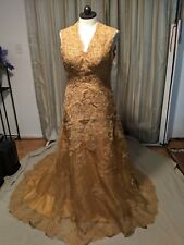 Gold Column Scalloped Edge Sleeveless Lace up Beaded Wedding Bridal Gown Size14