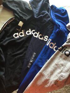 Adidas Hooded Sweatshirt Gray Black Men New Tag Cotton Polyester Hood Hoodie