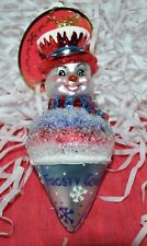 NEW RADKO FROSTY SNOWCONE Christmas Glass Ornament  Snowman Ice cream Glitter