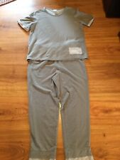 Blair Light Gray Two Piece Top And Pants Outfit Casual Size Large Cotton Poly