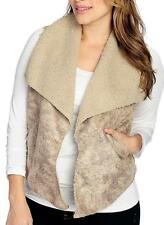 NEW OSO Casuals® Faux Shearling Sleeveless Two-Pocket Open Front Vest - M