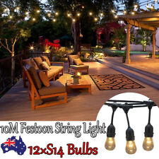 Connectable 10 Hanging Sockets Antique E27 ES Festoon String Light +12 S14 Bulbs