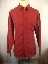 Mens Bugatchi Uomo Maroon Rib Knit Rayon Poly LS Casual Shirt sz XL