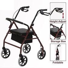"8"" Casters Medical Rollator Walker Fold Up Rolling Senior Walker w/Padded Seat"