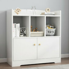 Wood File Cabinet Lateral Organizer Floor Bookshelf Home Office Storage White Us