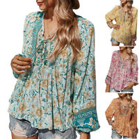 Ladies Boho Floral Baggy Blouse T-Shirt Comfy Casual Holiday Loose Lace Up Top