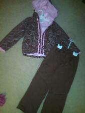 NWT GIRLS MATCHING HOODED COAT AND PANTS BROWN & PINK BOTH FLEECE LINED SIZE 5T