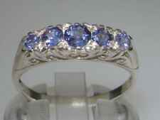 925 Sterling Silver Natural Tanzanite Womens Band Ring - Sizes J to Z