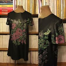 TOPSHOP dress UK 10 US 6 black faux leather rose tattoo print relaxed fit loose