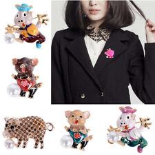 Women Crystal Animal Pig Enamel Pearl Brooch Pin Collar Costume Jewelry Gift