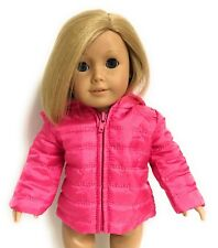Hot Pink Puffy Hooded Jacket Coat made for 18 inch American Girl Doll Clothes