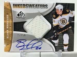 2008-09 SP Game Used Blake Wheeler Inked Sweaters Jersey Auto 37/50!