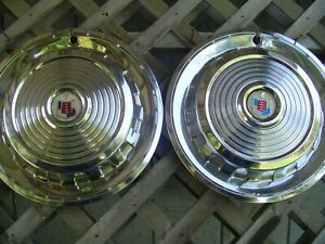 TWO 1958 58 VINTAGE MERCURY METEOR COMET MONTEREY MARAUDER HUBCAPS WHEEL COVERS