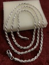 24 Inches 925 sterling silver solid / heavy rope chain lobster lock 3mm