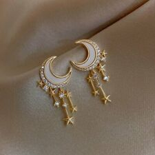 2021 Fashion Moon Star Tassel Crystal Earrings Women Drop Dangle Jewelry Gifts