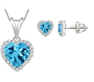 """Heart Cut Blue Topaz Halo Earring & Pendant 18"""" Valentine Set 14k White Gold FN"""