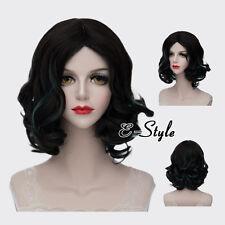 30CM Black Mixed Blue Short Curly Lolita Harajuku Women Ladies Cosplay Party Wig